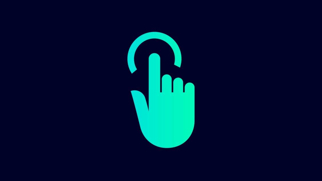 Icon zum Datenhandling: eine Hand, die mit dem Zeigefinger eine Berührung ausführt, angezeigt durch einen Kreis.