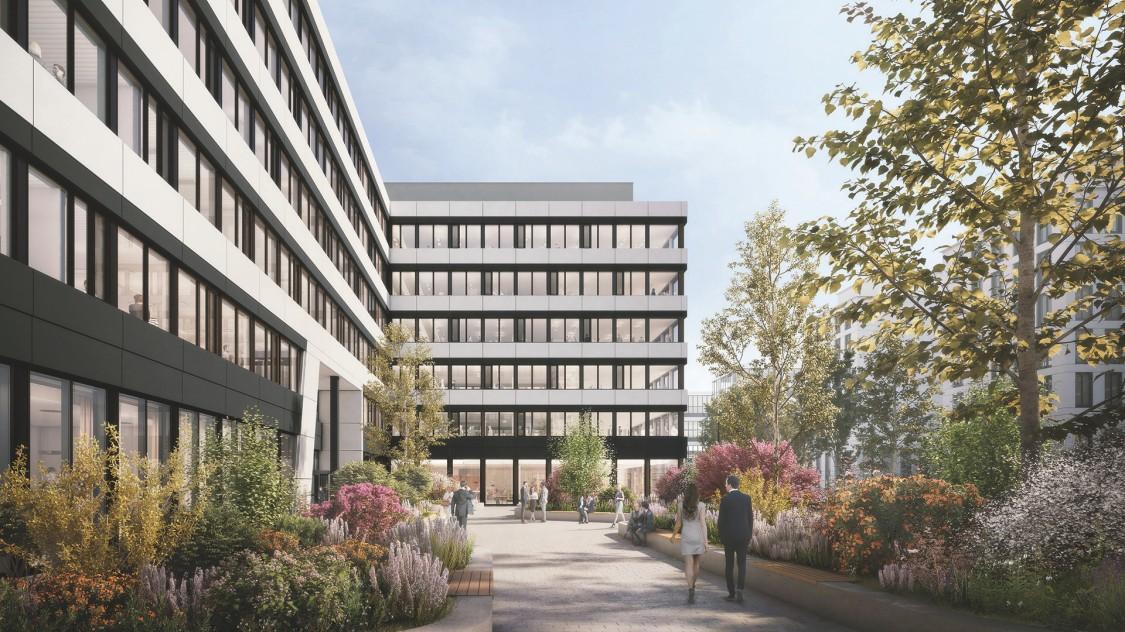 The Move Ensemble - Rendering Eingangsbereich mit Vorhof der Bürogebäude