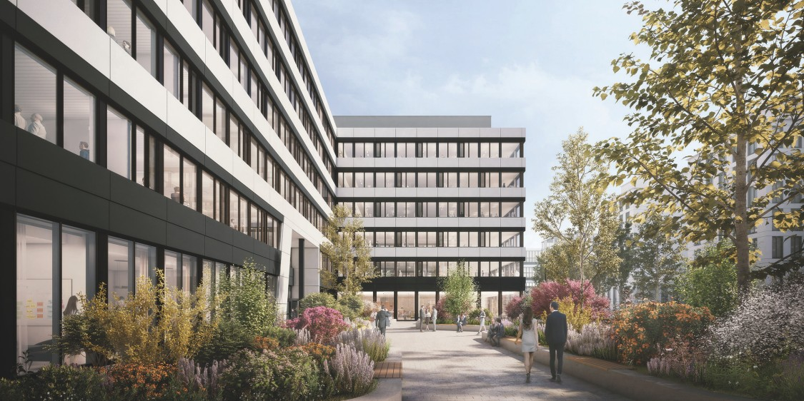 The Move Rendering Außenansicht des Eingangsbereiches zu den Bürogebäuden
