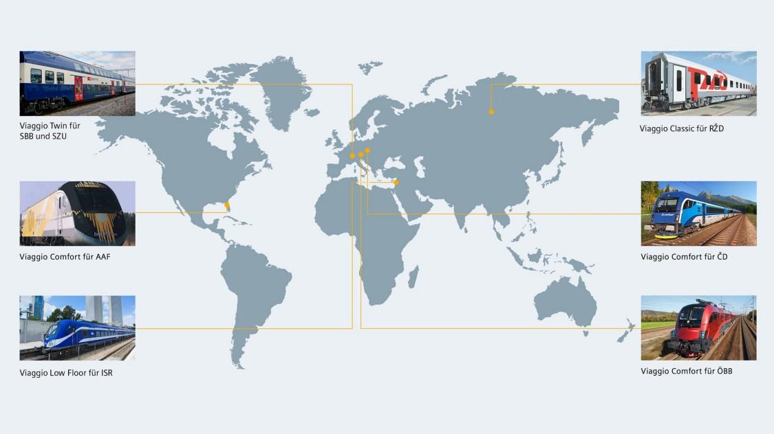 Weltkarte mit Viaggio Highlight-Projekten