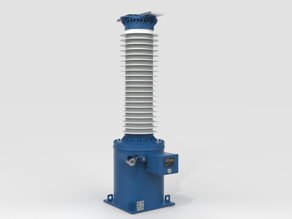 The picture shows a 145 kV Blue voltage transformer