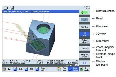 SINUMERIK Operate - моделирование машинной обработки