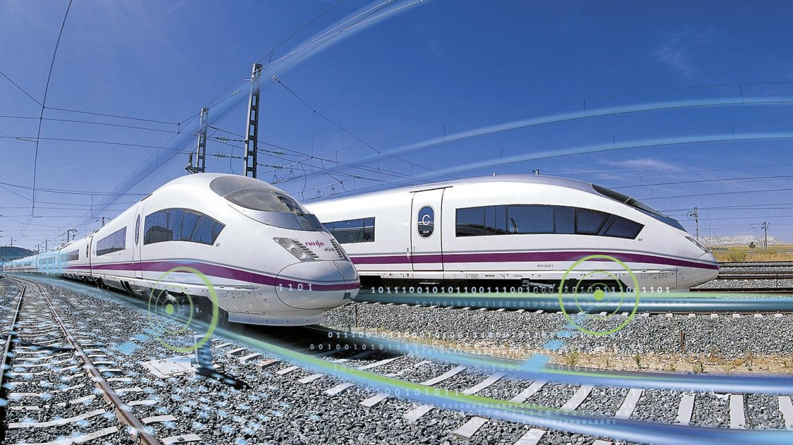 Two Spanish Velaro E side by side on the rails together with graphic elements