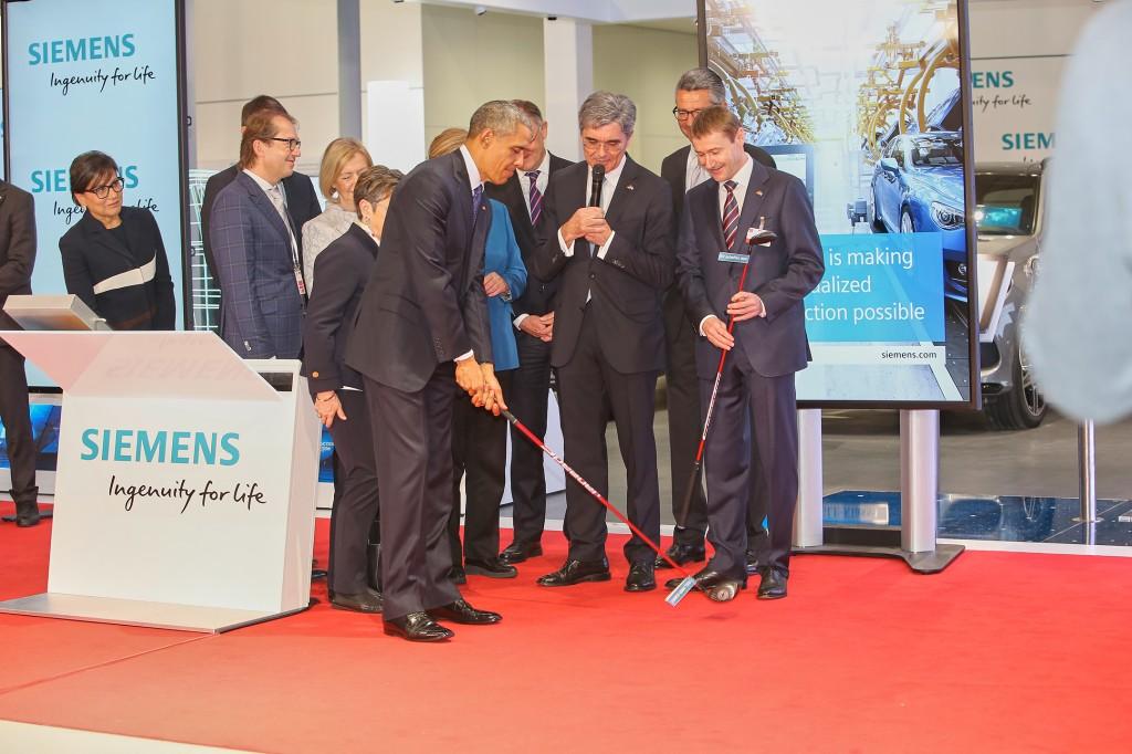 Obama besucht Siemens auf der Hannover Messe