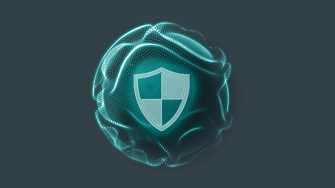 SINECソフトウェアファミリによって実現するセキュリティの強化を示す、緑色の円の内側にセキュリティシールドが描かれたデジタルグラフィック。