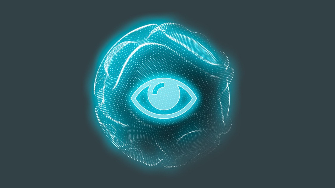 Symbol for more overview thanks to SINEC software family: one eye inside a light blue digital circle.