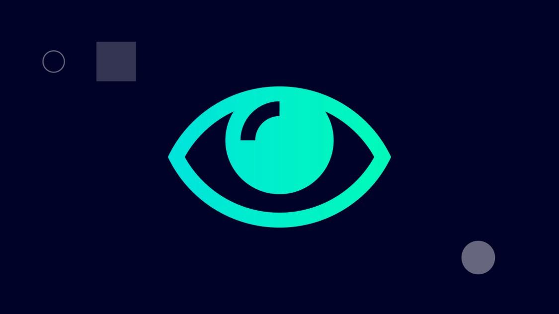 SINECソフトウェアファミリによって実現する概要の改善を示す、水色の円の内側に1つの目が描かれたデジタルグラフィック。