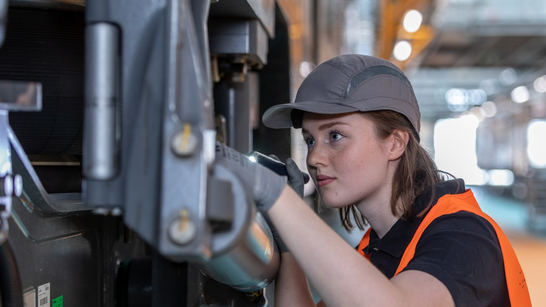 Service technician during inspection
