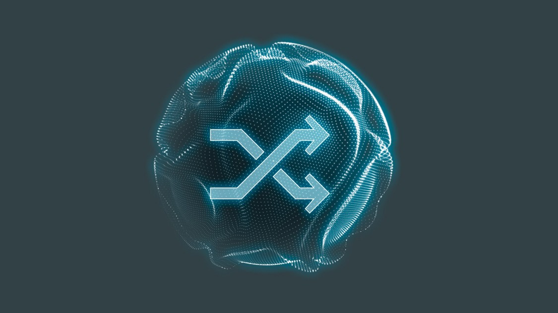 Symbol für mehr Agilität dank der SINEC Softwarefamilie: zwei sich überkreuzende Pfeile, die in dieselbe Richtung zeigen, in einem blauen digitalen Kreis.