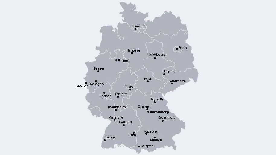 Landkarte mit den Kursorten in Deutschland
