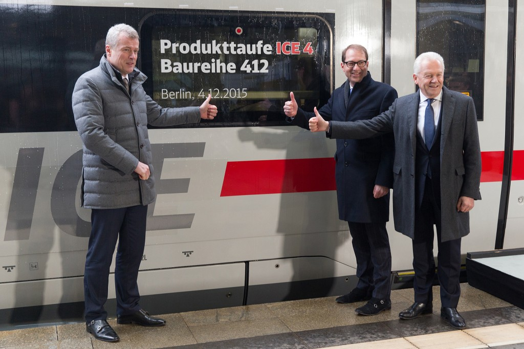 In the picture (from right to left): Rüdiger Grube, Chairman and CEO of Deutsche Bahn, Alexander Dobrindt, the German Minister of Transport and Digital Infrastructure, Jochen Eickholt, CEO of the Siemens Mobility Division