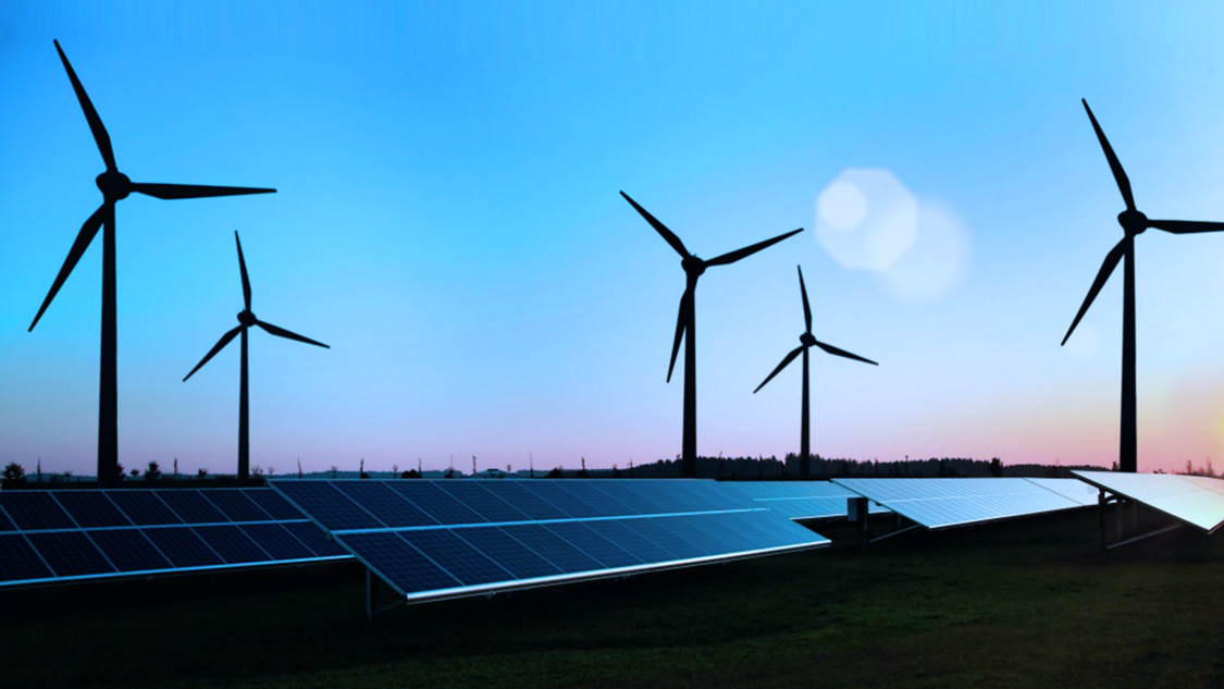 Wind farm and solar power plant.