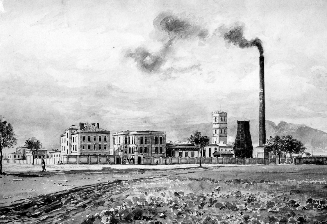 Smoking chimneys signify full order books – Leopoldau cable factory, 1899
