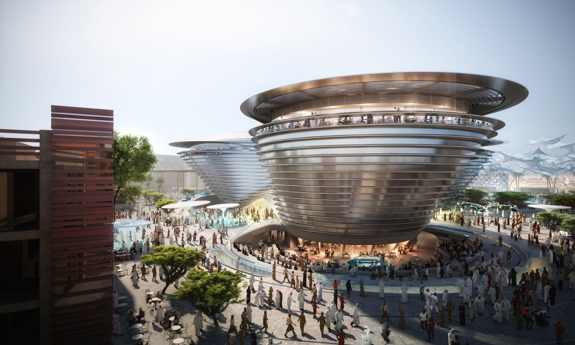 A visualization of the Mobility Pavilion at Expo 2020 in Dubai.