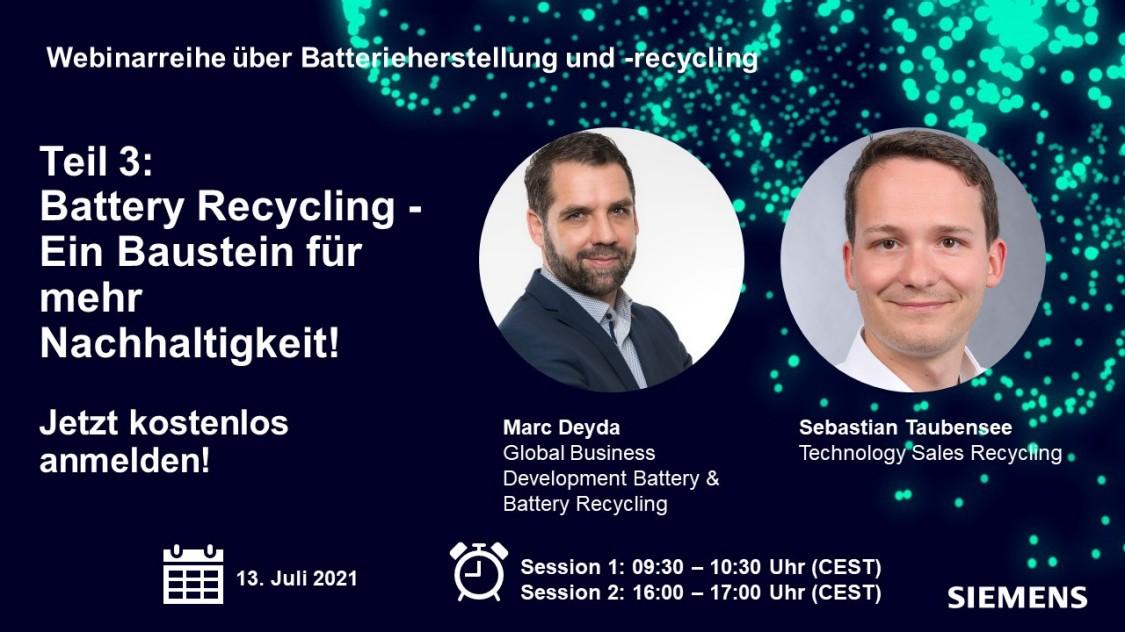Webinar Battery Recycling - Ihre Sprecher
