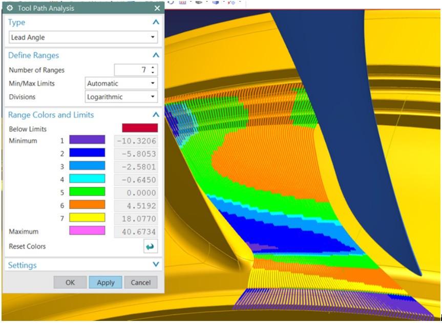 Funktionen för visuell analys hos NX CAM 11 ger viktig information om 5-axliga skärförhållanden.