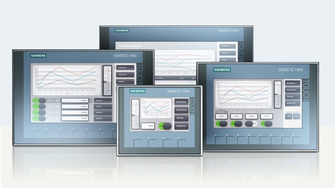 quatro modelos de painéis de controles básicos ihn da siemens em fundo branco