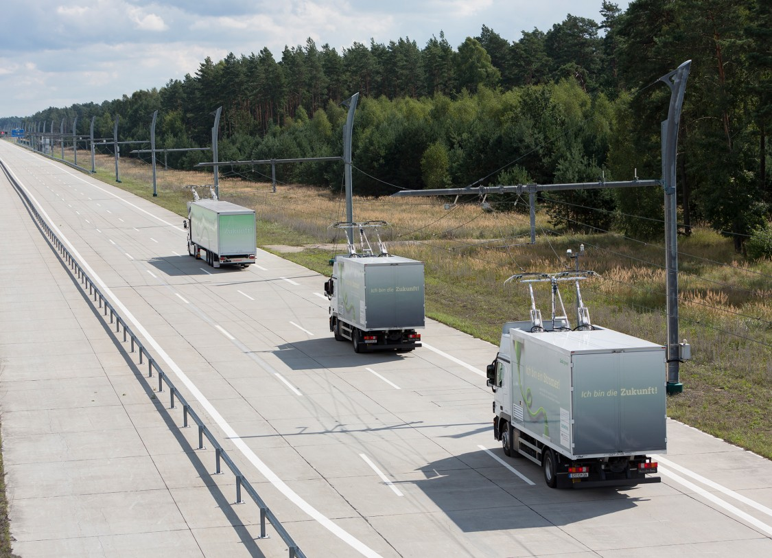 Trucks with overhead wires on the test route near Frankfurt, Germany