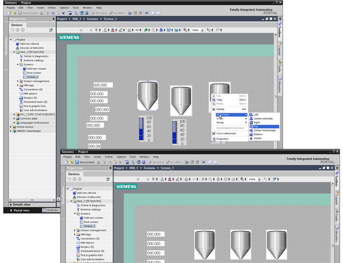 WinCC bietet einen grafischen Editor zur Bearbeitung der HMI-Anzeige