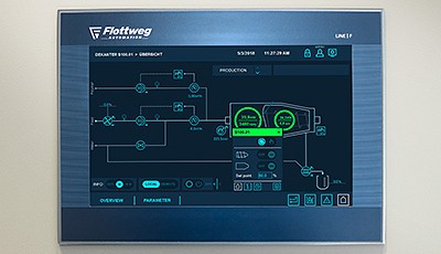 Together with renowned design experts, Flottweg developed a new interface for user-friendly plant operation which includes visualization.