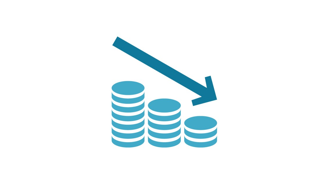 Graphic representing cost efficiency with three piles of coins lined up in decreasing size order