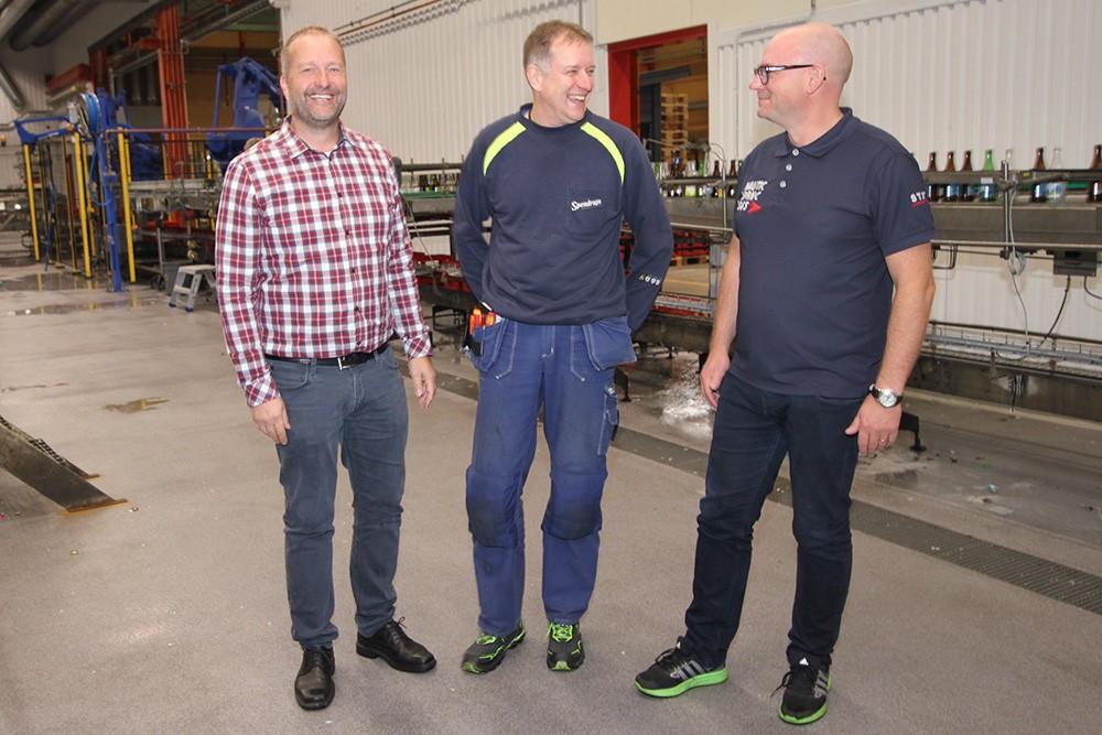 Peter Nordin, försäljningsingenjör på Siemens, Håkan Dahlman, automationstekniker på Spendrups, och Magnus Persson, projektledare Process & Automation på Spendrups
