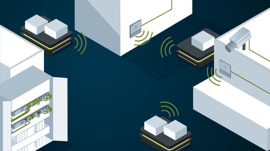 Automaticky řízené vozíky v továrně mezi zařízeními řízenými skrze brány RTLS systému Power over Ethernet
