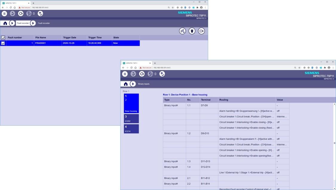 SIPROTEC 5 Web UI - Terminal assignment