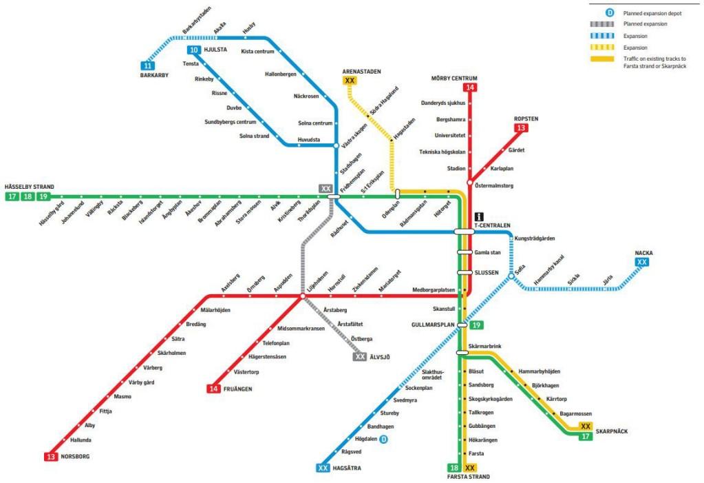 Karte der neue Metro für die Region Stockholm
