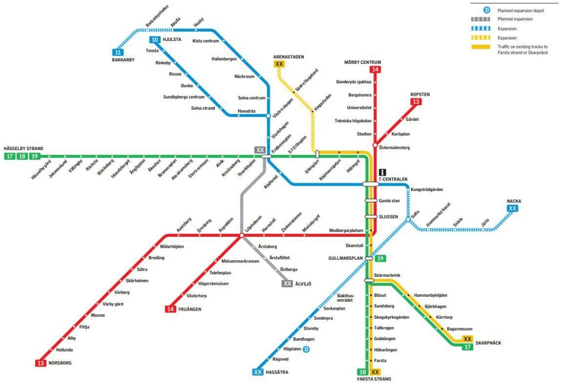 Metro Sztokholm - mapa