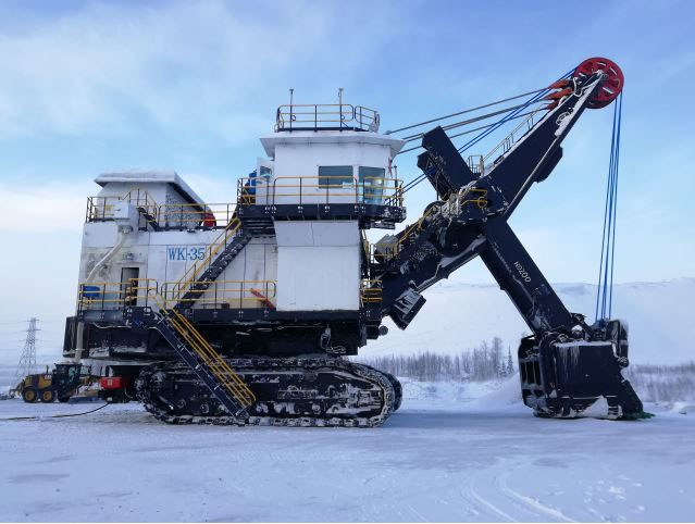 WK-35 rope shovel produced by TYHI has been operating in the mines of Polyus Gold in Russia.