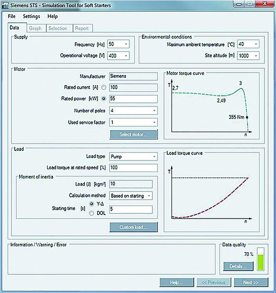 Simulation tool for soft starters – Simple entry of motor and load data