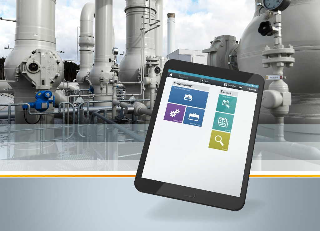 The picture shows the Comos Mobile Operations App from Siemens.