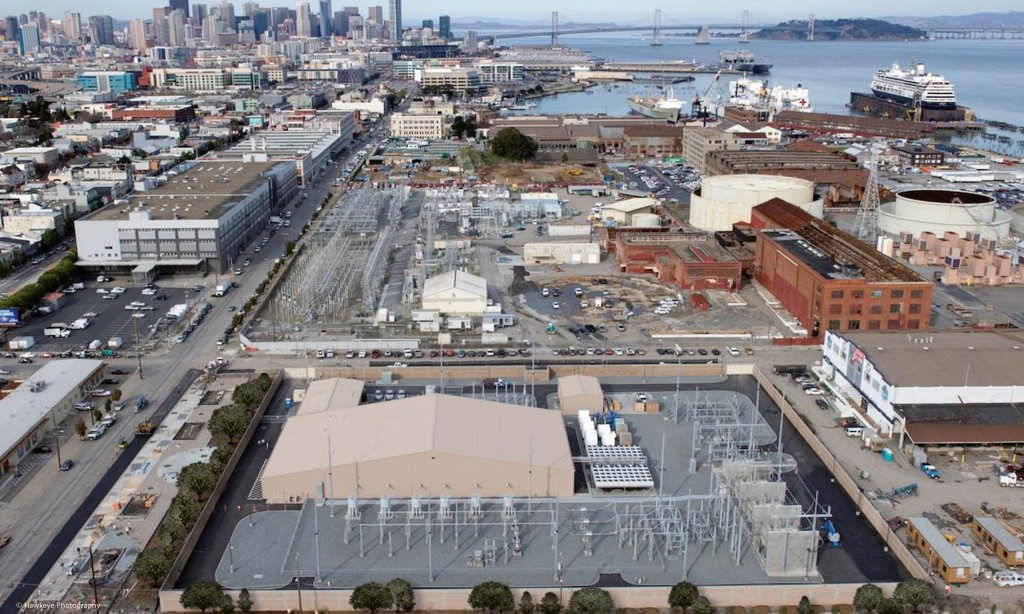 The picture shows the Trans Bay Cable HVDC transmission station San Francisco.