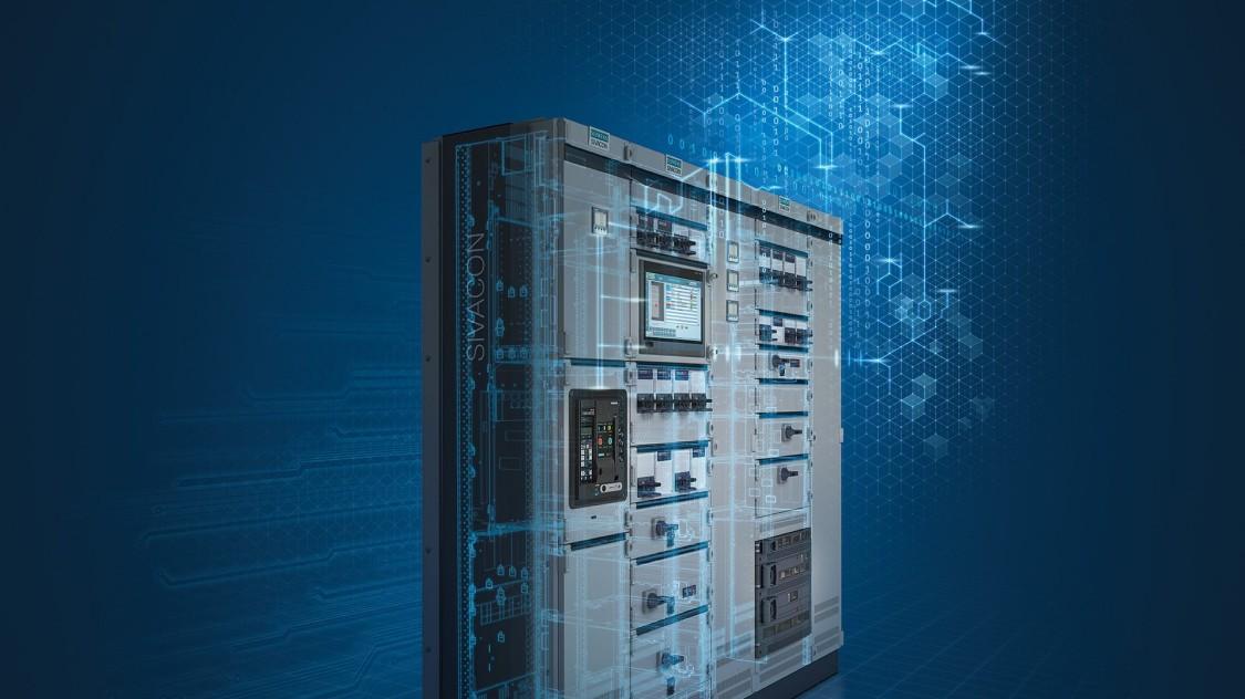 Schaltanlage Sivacon, bestückt mit verschiedenen Schaltkomponenten, überlagert mit blauem Layer aus weiteren Komponenten.