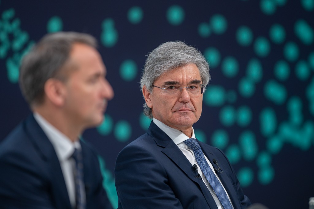 Joe Kaeser, Siemens President and CEO, and Jim Hagemann Snabe, Chairman of the Supervisory Board of Siemens AG, before the 55th Annual Shareholders' Meeting begins at Siemens headquarters in Munich. This event marks the end of Joe Kaeser's term of office as President and CEO of Siemens AG.