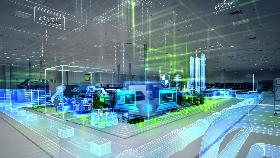 Imagem futurística representando um sistema de automação industrial da Siemens