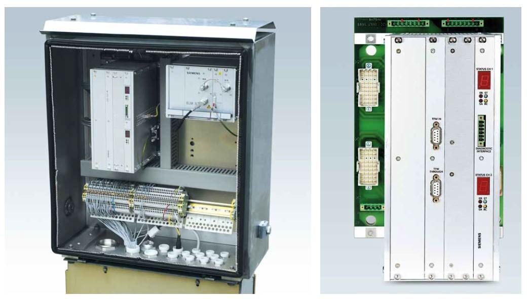 Schaltschrank mit installierter  Trainguard LEU S21 MS und ELM S21 F  sowie Abbildung eines Trainguard LEU S21 MT