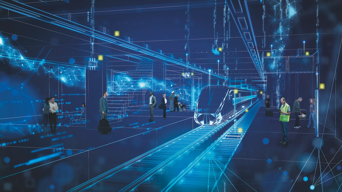Bildliche Darstellung von Cybersecurity im Bahnumfeld