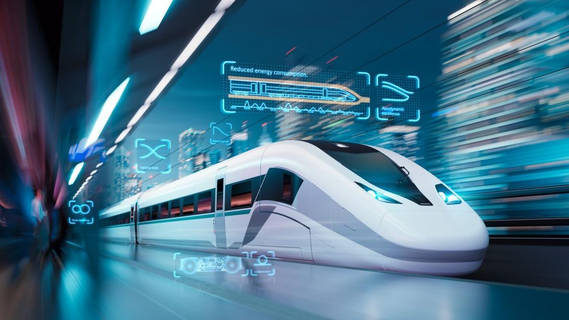 Bild des Velaro Novo in Diagonalansicht an einem stilisierten, futuristischen Bahnhof; digitale Grafikelemente illustrieren Features und Vorteile.