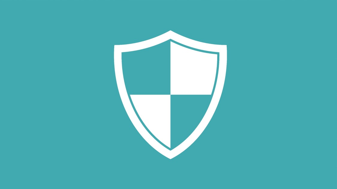 Security icon: A white protective shield is visible against a turquoise background.