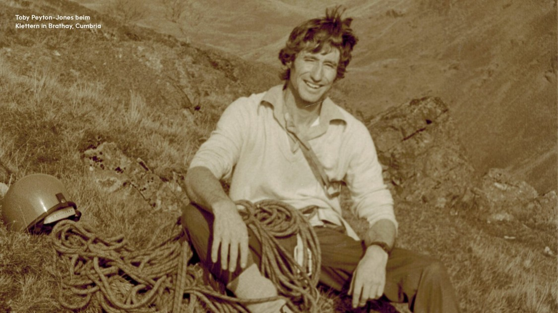 Toby Peyton-Jones beim Klettern in Brathay, Cumbria