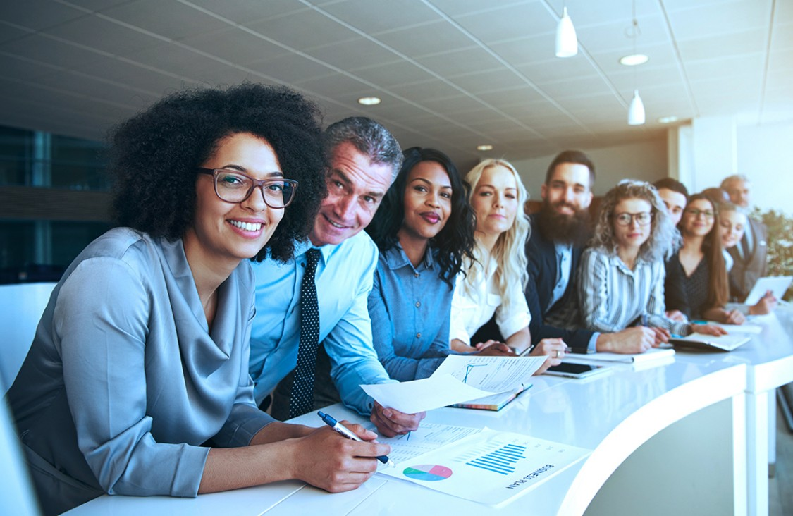 Team of professionals at a conference table