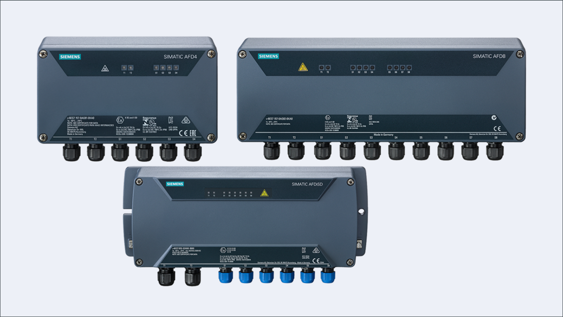 Die aktiven Feldverteiler AFD4, AFD8 und AFDiSD sind für Betriebsumgebungen bis Zone 22 geeignet