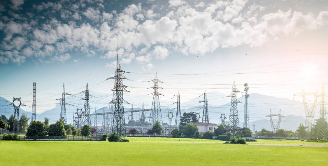This is an image of electric power lines, just one aspect of the smarter grid the electric power industry is transitioning to.