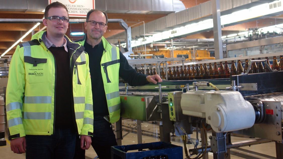 Das Projektteam bei Brau Union: Projektleiter Ing. Johann Hölzl und MSc Michael Steiger, Technischer Service