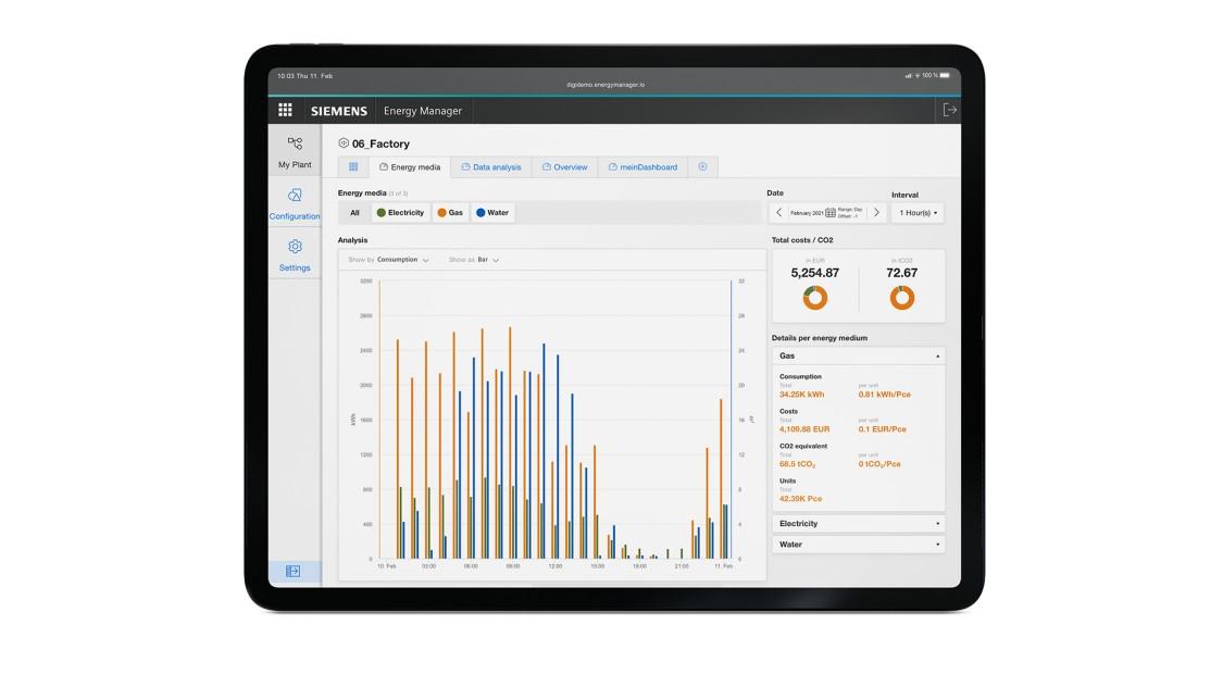Beispiel einer Benutzeroberfläche der App Energy Manager auf einem Tablet