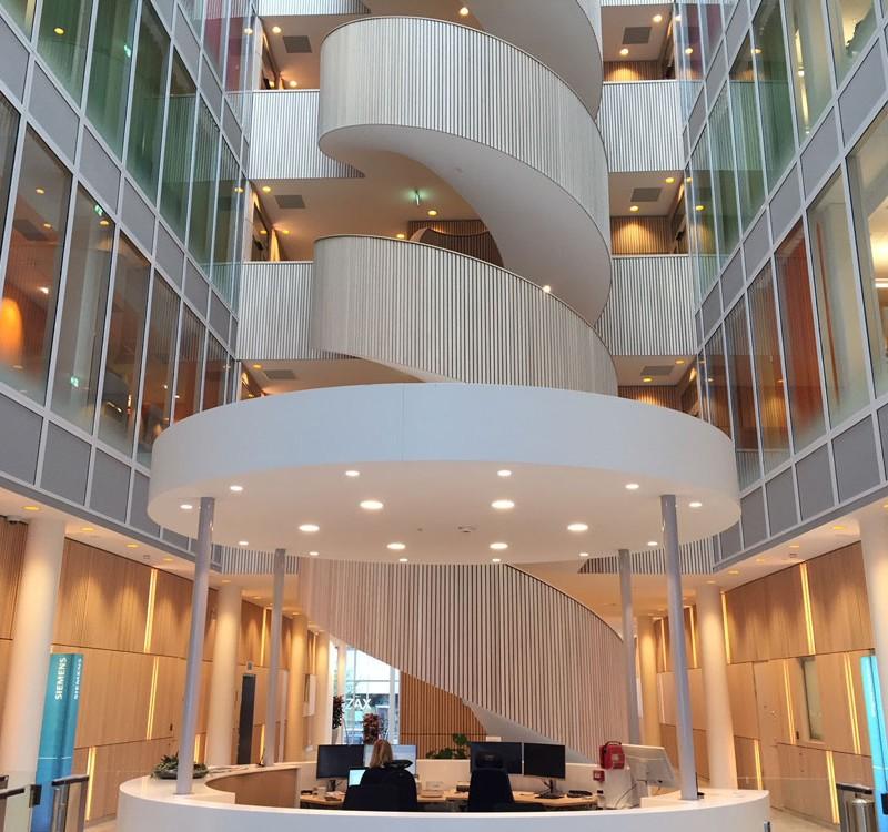 Spiraltrappan på huvudkontoret i Solna