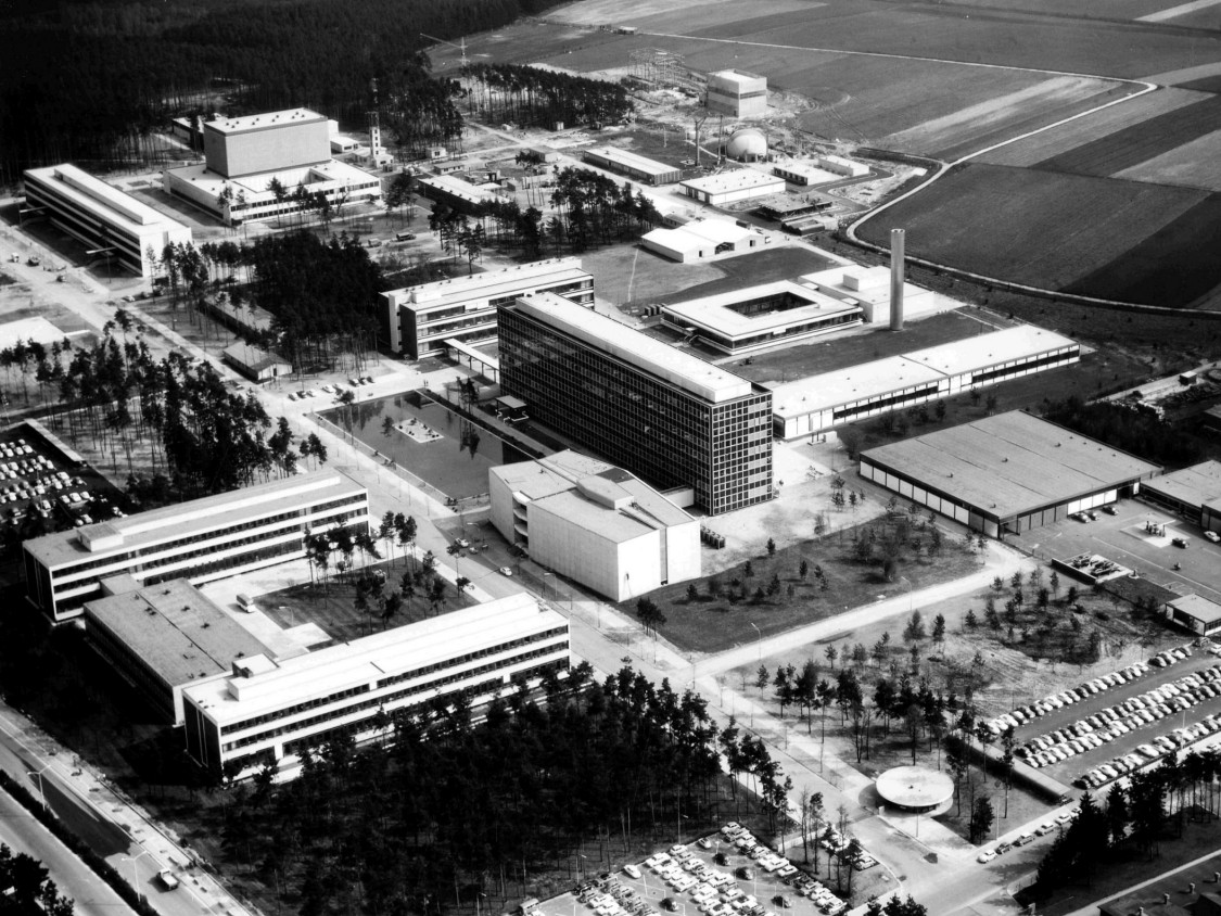 Aerial view of the research center after its completion