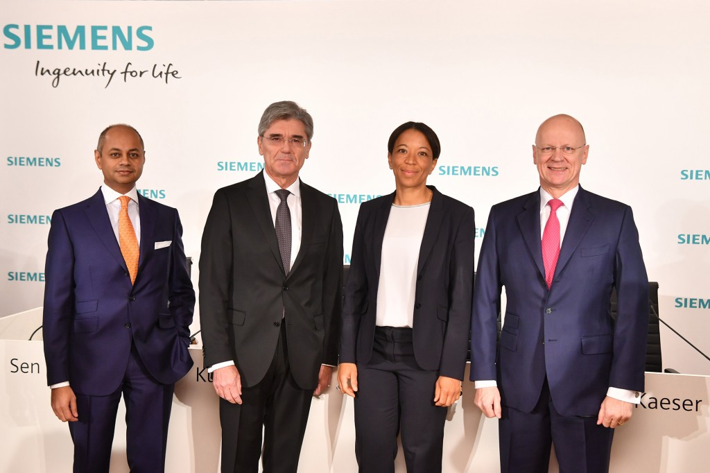 From left to right: Michael Sen, Member of the Managing Board; Joe Kaeser, President and Chief Executive Officer Siemens AG; Janina Kugel, Member of the Managing Board and Chief Human Resources Officer; Ralf P. Thomas, Member of the Managing Board and Chief Financial Officer.